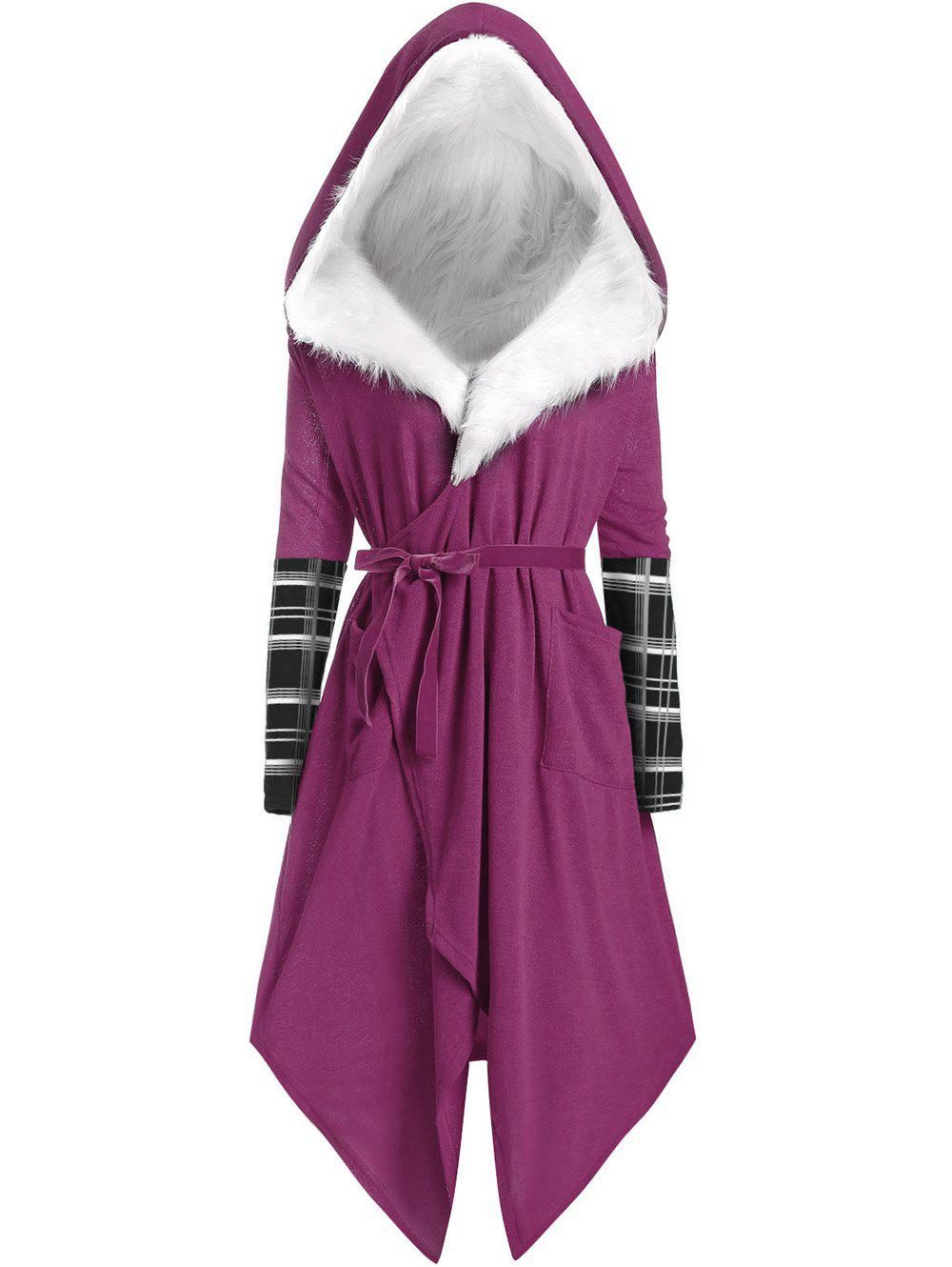 Plus Size Asymmetric Wrap Coat with Faux Fur Hooded - PURPLE 1X