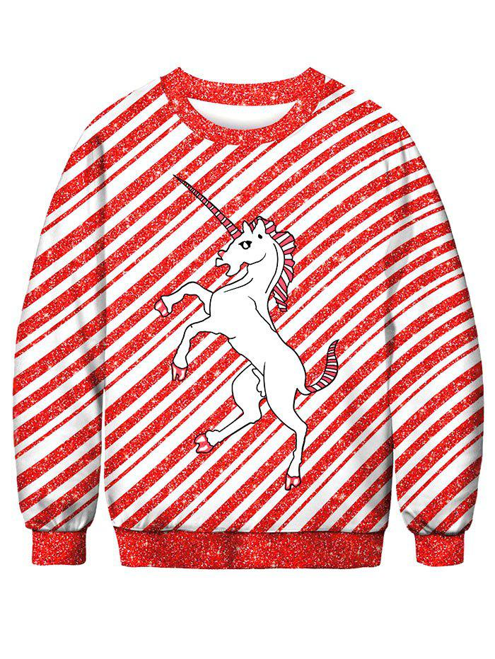 Striped Horse Printed Pullover Sweatshirt - LAVA RED XL