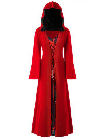 Plus Size Christmas Lace Up Hooded Maxi Dress