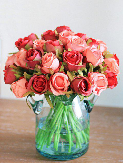 12 Heads Color Block Artificial Rose Flowers - CHERRY RED