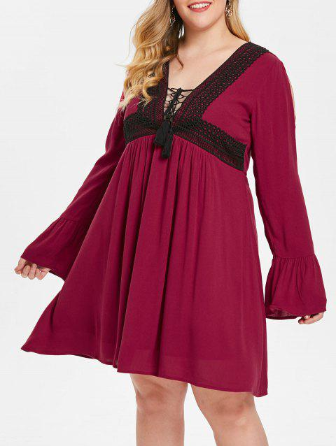 Plus Size Flare Sleeves Lace Up Contrast Dress
