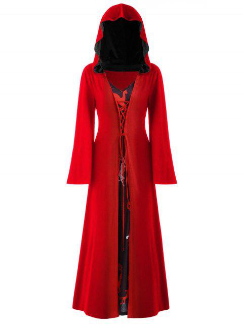 Plus Size Christmas Lace Up Hooded Maxi Dress - LAVA RED 1X