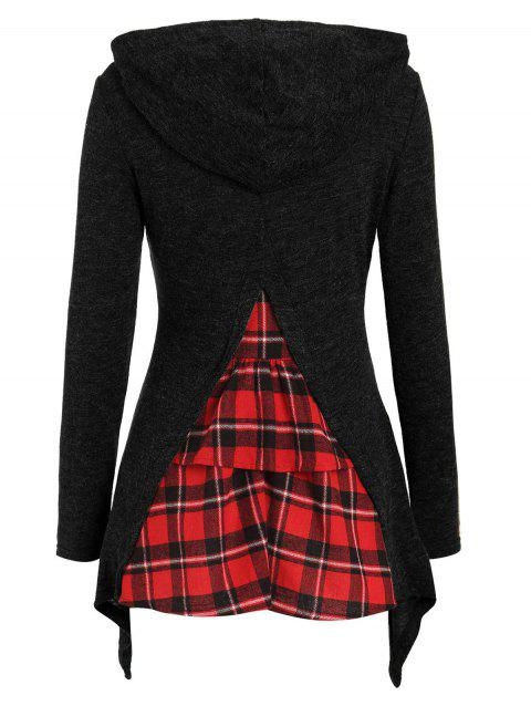 Tartan Panel Long Sleeve Hooded Knitwear - BLACK S