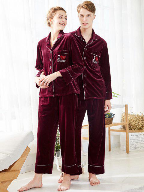Embroidered Velvet Matching Couple Pajamas - RED WINE WOMEN L