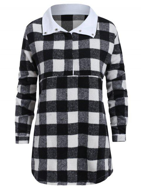 Plus Size Turn Down Collar Plaid Sweatshirt - BLACK L