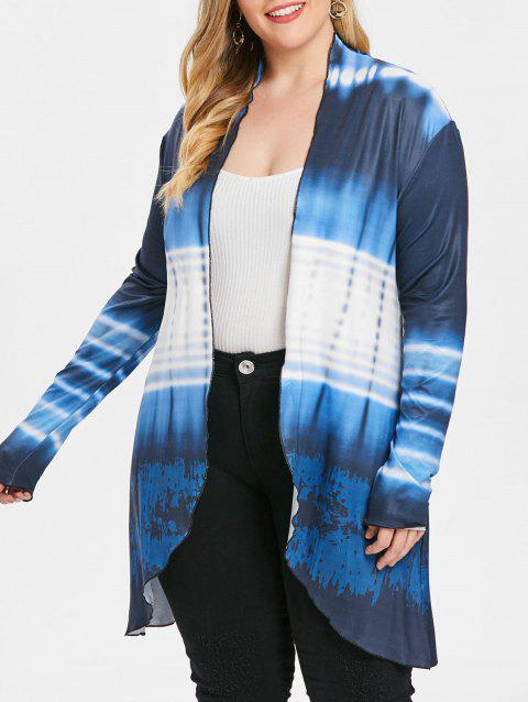 Plus Size Ombre Collarless Coat - DARK SLATE BLUE 2X
