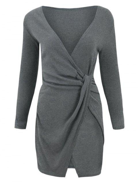 Knotted Wrap Knit Bodycon Dress - DARK GRAY L