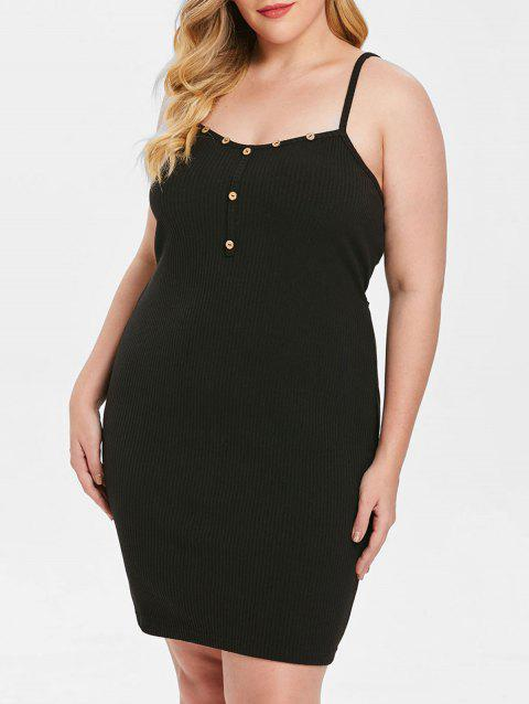 Plus Size Button Self Tie Solid Cami Dress