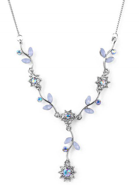 Rhinestone Flower Leaf Branch Necklace - SILVER