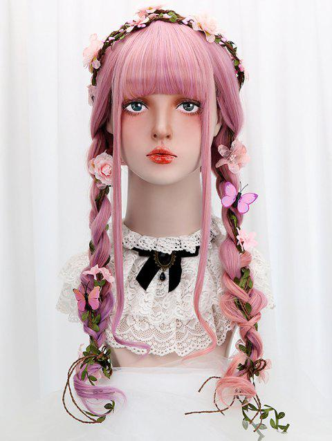 Long Full Bang Colorful Wavy Lolita Synthetic Wig - PALE VIOLET RED