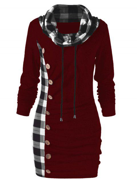Plaid Drawstring Cowl Neck Tunic Sweatshirt Dress - RED WINE L