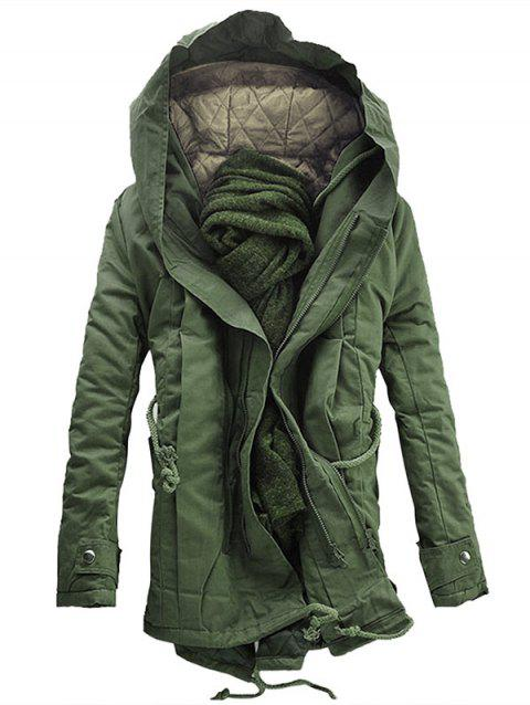 Double Zip Up Hooded Padded Parka Coat - ARMY GREEN XL