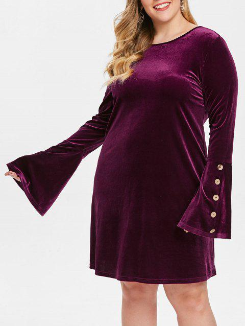 Plus Size Buttons Flare Sleeves Velvet Dress