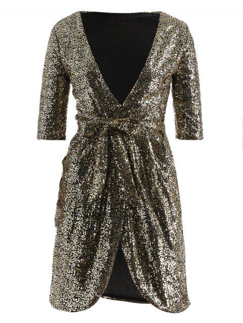 Paillette Long Sleeve Belted Dress - GOLD XS
