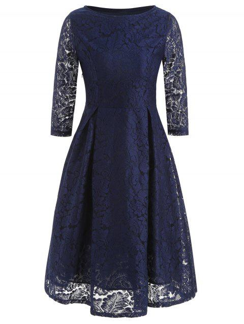 Three Quarter Sleeve Lace Dress - CADETBLUE L