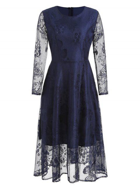 Round Neck Butterfly Lace A Line Dress - CADETBLUE XL