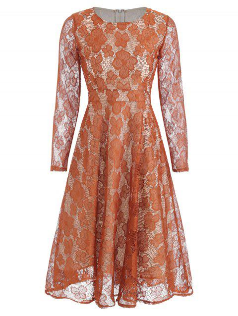 Long Sleeve Lace Fit and Flare Dress - BEAN RED XS