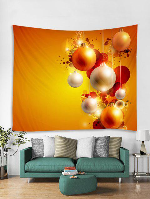 Christmas Ball Star Pattern Tapestry Art Decoration - BRIGHT YELLOW W59 X L51 INCH