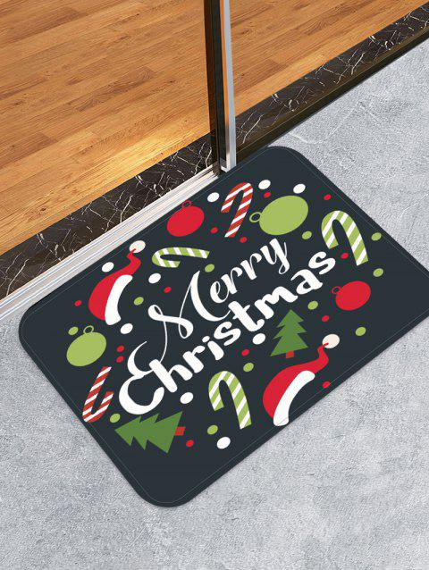 Merry Christmas Tree Candy Cane Printed Floor Mat - DARK FOREST GREEN W24 X L35.5 INCH
