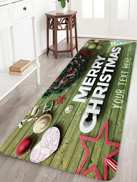 Merry Christmas Star Wooden Printed Floor Mat - FERN GREEN W16 X L47 INCH
