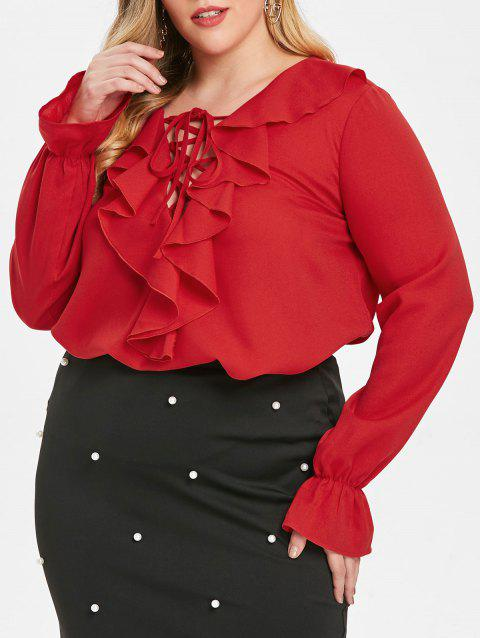 Plus Size Ruffled Lace Up Blouse - LAVA RED 5X