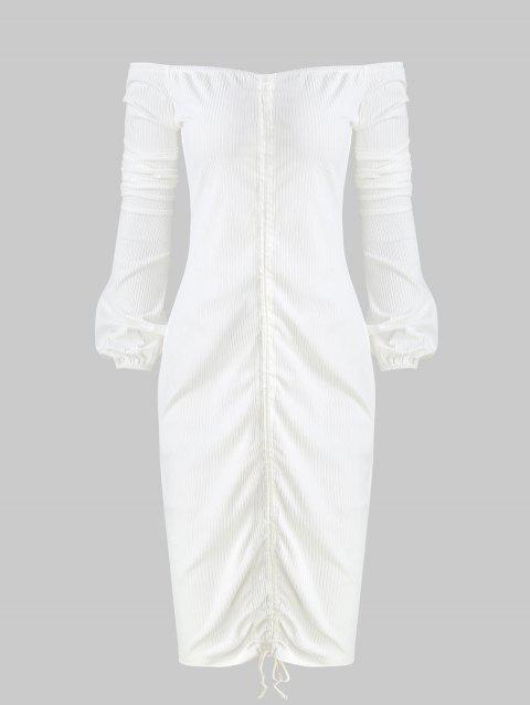 Tie Ruched Off The Shoulder Dres - WHITE XL