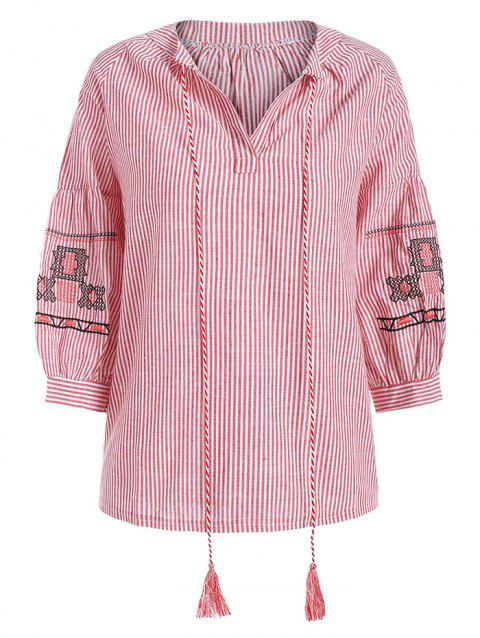 Plus Size Tied Embroidered Striped Blouse - RED 5X