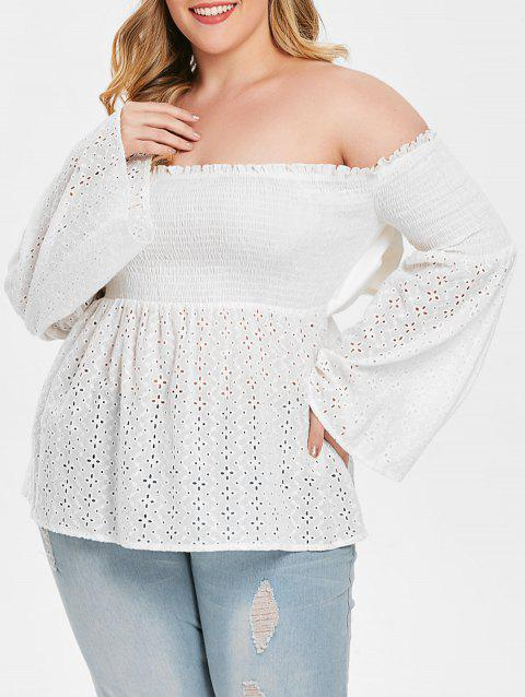 Plus Size Off Shoulder Smocked Peplum Blouse - WHITE 3X