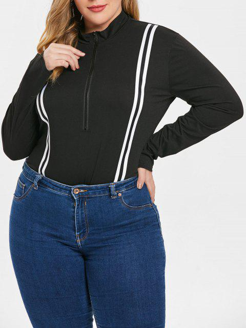 Plus Size Striped Panel Half Zip Bodysuit - BLACK 3X