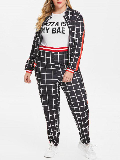 Plus Size Gingham Print Sweatshirt Two Piece Suit - BLACK 4X