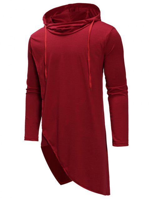 Irregular Solid Color Drawstring Hooded Shirt - RED XL