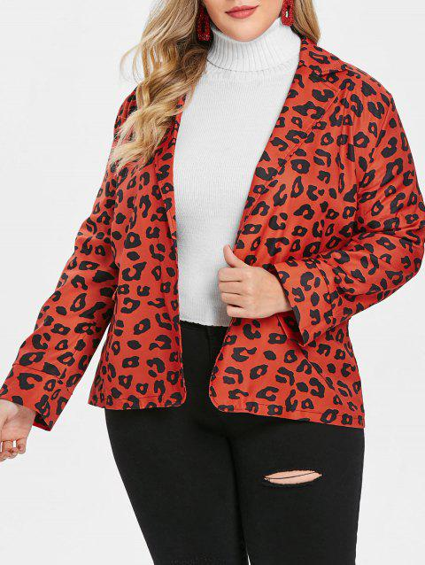 Plus Size Leopard Print Lapel Neck Blazer - CHESTNUT RED 5X