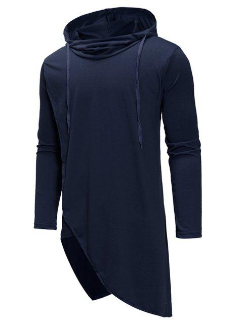 Irregular Solid Color Drawstring Hooded Shirt - CADETBLUE 2XL
