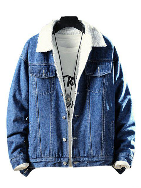 Fluffy Faux Fur Button Fly Denim Jacket - DENIM DARK BLUE M