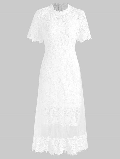 Hollow Out Two Piece Lace Dress - WHITE L