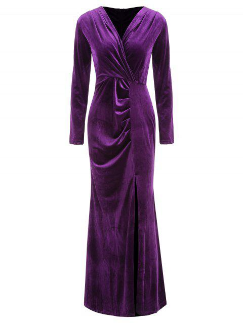 Wrap Long Sleeve Maxi Dress - PURPLE M