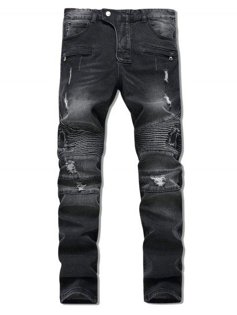 Long Patchwork Ripped Jeans - BLACK 32
