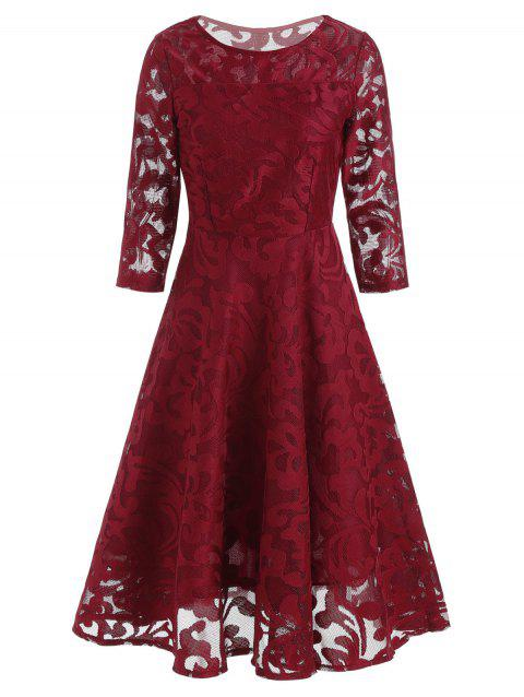 Round Neck Lace Fit and Flare Dress - RED XL