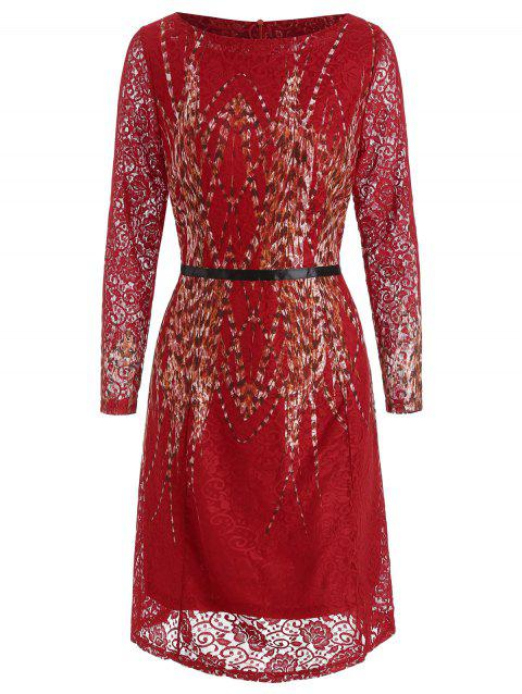 Round Neck Printed Knee Length Dress - RED 2XL