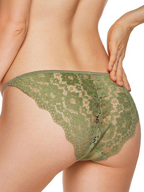 Lace Insert String Briefs - GREEN ONION L