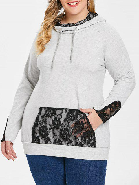 Plus Size Kangaroo Poket Lace Hoodie - LIGHT GRAY 2X