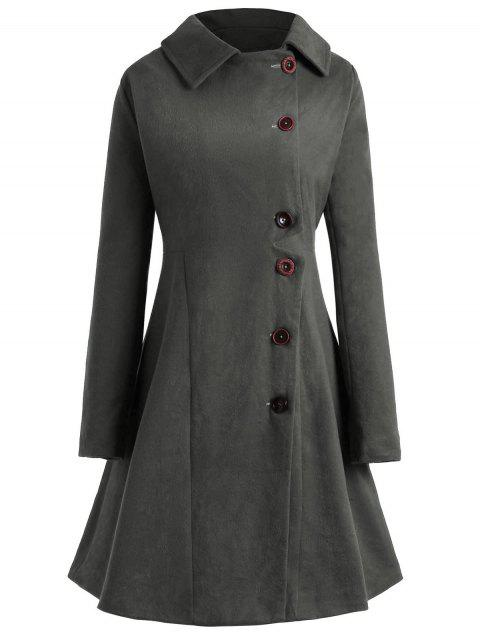 Plus Size Button Up Flare Coat - GRAY 2X
