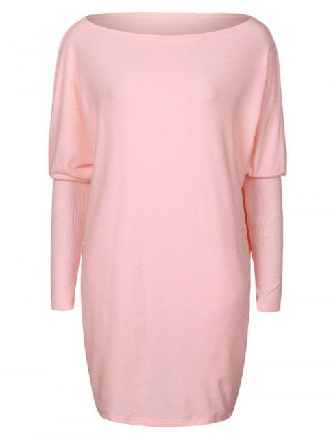Batwing Sleeve Mini Tunic Dress - PINK M
