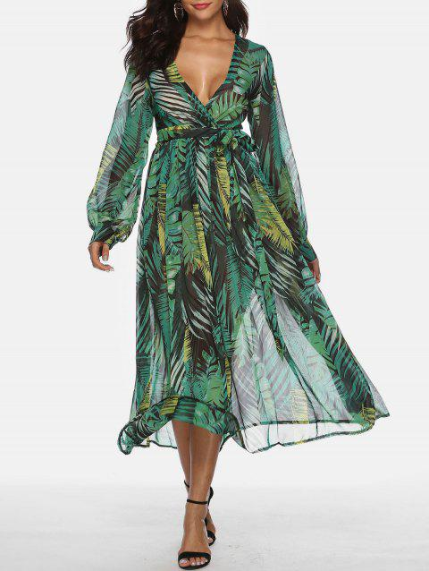 Bohemian Plunge Tropical Print Maxi Chiffon Dress - MEDIUM SEA GREEN L