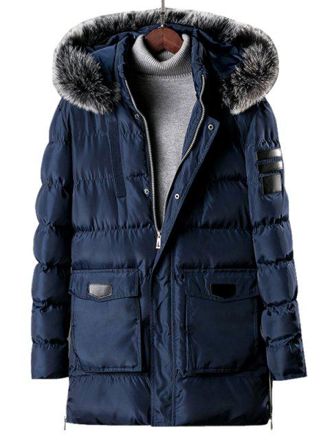 Detachable Fur Hooded Zip Fly Padded Coat - LAPIS BLUE S