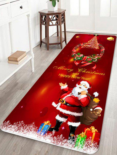 Father Christmas Gift Bear Printed Floor Mat - RED W24 X L71 INCH