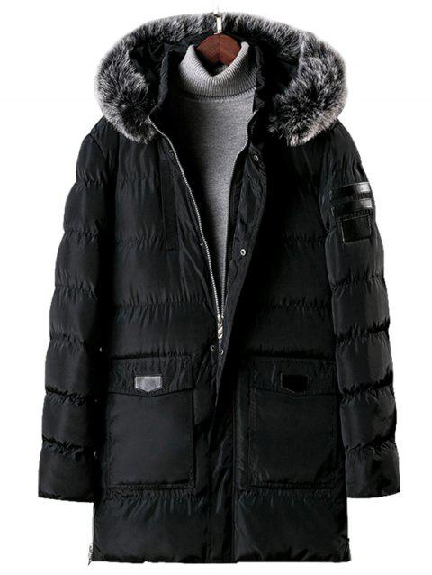 Detachable Fur Hooded Zip Fly Padded Coat - BLACK M