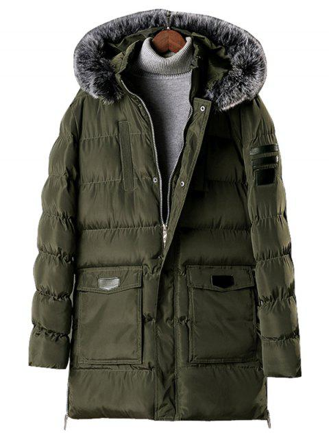 Detachable Fur Hooded Zip Fly Padded Coat - ARMY GREEN L