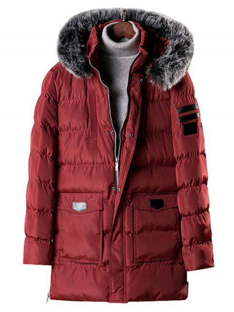 Detachable Fur Hooded Zip Fly Padded Coat - RED WINE L