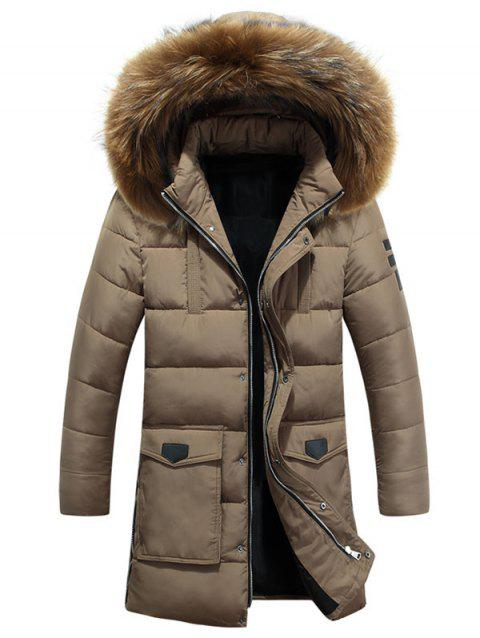 Detachable Fur Hooded Zip Fly Padded Coat - TAN XS